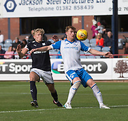 16th September 2017, Dens Park, Dundee, Scotland; Scottish Premier League football, Dundee versus St Johnstone; St Johnstone's Liam Craig holds off Dundee's A-Jay Leitch-Smith