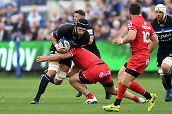 Luke Charteris of Bath Rugby takes on the Toulouse defence - Mandatory byline: Patrick Khachfe/JMP - 07966 386802 - 13/10/2018 - RUGBY UNION - The Recreation Ground - Bath, England - Bath Rugby v Toulouse - Heineken Champions Cup