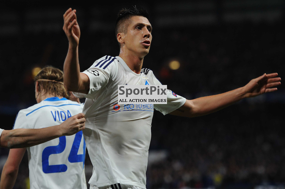 Dynamo Kiev players celebrates Aleksandar Dragovics equaliser to set the scores to 1-1 during the Chelsea v Dynamo Kiev champions league match in the group stage on the 4th November 2015