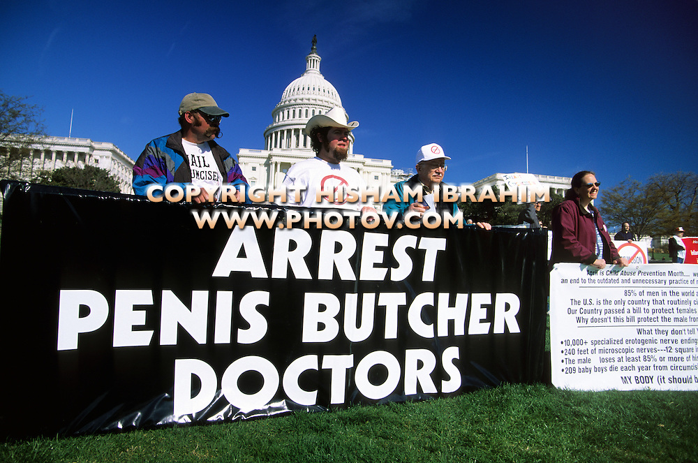 Circumcision protestors, US Capitol Building, Washington DC, USA