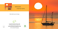 Yacht at sunrise in Anglesey Square Greeting Card with Peel and Seal White Envelope