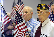 SOUTHAMPTON, PA -  NOVEMBER 11: Bill Hufford (R), 99, sings the national anthem along with fellow veterans November 11, 2013 at Southampton Estates in Southampton, Pennsylvania. (Photo by William Thomas Cain/Cain Images)