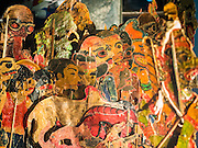 """15 JUNE 2105 - NARATHIWAT, NARATHIWAT, THAILAND:  Puppets used in the """"wayang"""" at a fair in Narathiwat to celebrate 100 years of Narathiwat. The city has been a Muslim city for centuries, but when Siam (now Thailand) annexed the three southern provinces they changed the name to Narathiwat.     PHOTO BY JACK KURTZ"""