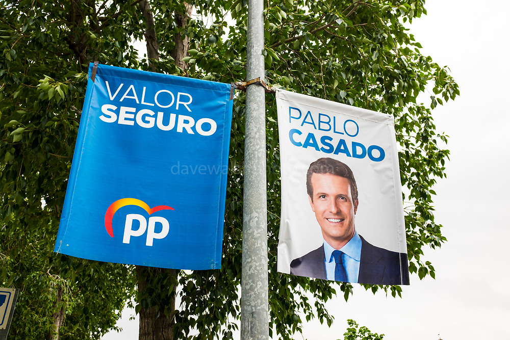 Banner showing Pablo Casado, leader of the PP, Partido Popular right wing conservative party. Sant Cugat del Valles, Barcelona, ahead of the General Election, Spain, 28 April 2019.  Sant Cugat is a pro-independence town, with national right wing parties struggling  to gain a foothold.