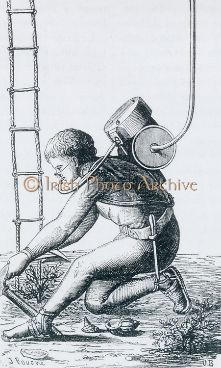 'Diver equipped with Denayrouse's reservoir/regulator and Rouquarol's pince-nez to prevent inhaling water through the nose. Maximum dive with this equipment 1 1/2 hours. Engraving, Paris, c1870'