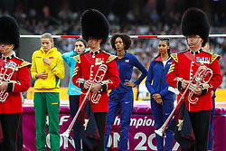 London, August 12 2017 . Women's high jump final on day nine of the IAAF London 2017 world Championships at the London Stadium. © Paul Davey.