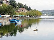 Greece, Macedonia, Castoria; Fishing Boats on Lake Orestiada