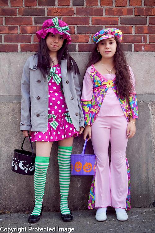 Halloween girls in costume, NYC. Photography by Debbie Zimelman, Modiin, Israel