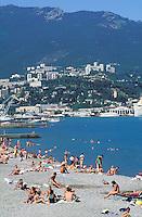 Yalta - Beach on the Ukrainian riviera on the black sea - Crimea - Ukraine