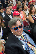 A GOP delegate wearing American flag glasses during the Republican National Convention July 20, 2016 in Cleveland, Ohio.