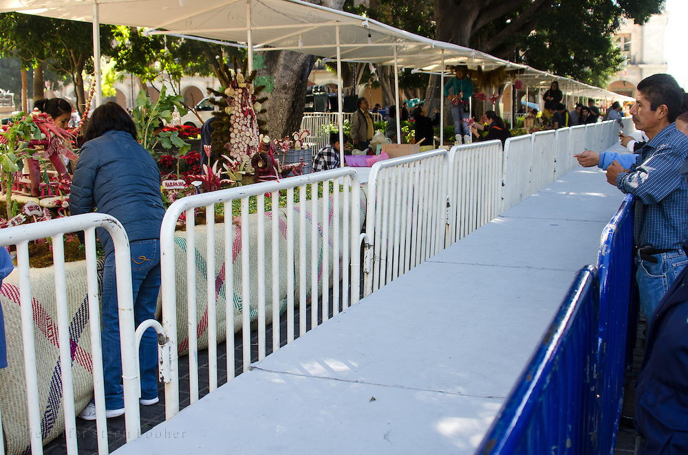 In the morning, the viewing platforms circling the Noche de Rabanos display stalls are empty. They will be packed with visitors when the festival opens at dusk.