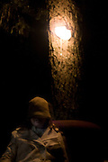 A woman sits below a bright lamp embedded in a rough-bark tree.