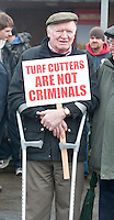 06/03/2013. Protesting near the court house in Loughrea where turf cutters where up on charges in relation to the cutting of turf in an area of conservation. Picture:Andrew Downes