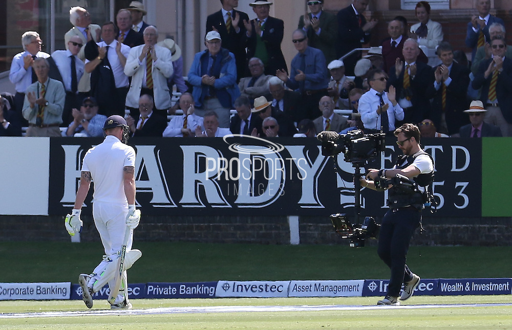 England Ben Stokes is out for 92 and walks back to the pavillion during the first day of the Investec 1st Test  match between England and New Zealand at Lord's Cricket Ground, St John's Wood, United Kingdom on 21 May 2015. Photo by Ellie  Hoad.