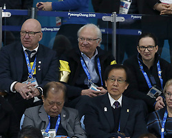 February 25, 2018 - Pyeongchang, KOREA - Carl XVI Gustaf Bernadotte, the King of Sweden, was on hand to watch the Sweden women take on Korea for the women's curling gold medal game during the Pyeongchang 2018 Olympic Winter Games at Gangneung Curling Centre. (Credit Image: © David McIntyre via ZUMA Wire)