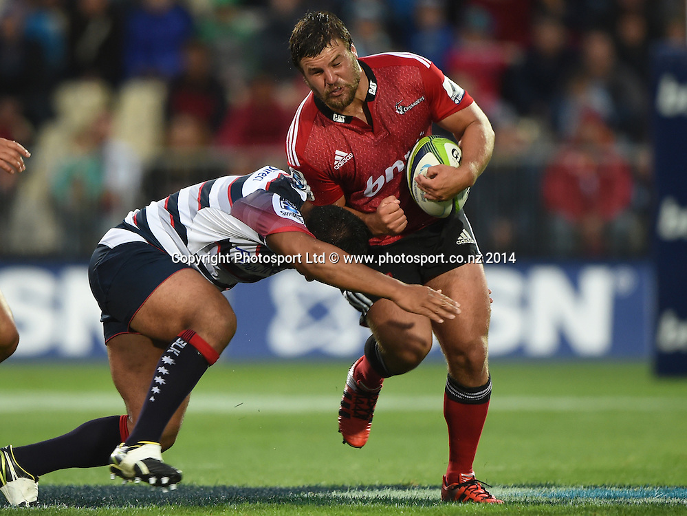 Hooker Ben Funnell. Crusaders v Rebels. Super Rugby. Christchurch, New Zealand. Friday 13 February 2015. Copyright Photo: Andrew Cornaga / www.photosport.co.nz