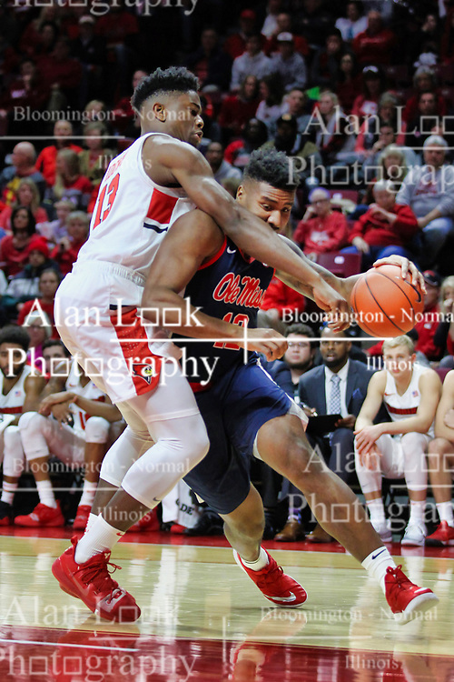 NORMAL, IL - December 08: Bruce Stevens defended by Rey Idowu during a college basketball game between the ISU Redbirds and the University of Mississippi (Ole Miss) Rebels on December 08 2018 at Redbird Arena in Normal, IL. (Photo by Alan Look)