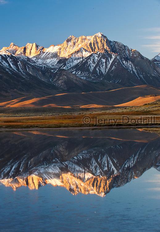 Sunrise on Big Alkali Lake and Mt. Morrison, Eastern Sierra, California near Mammoth Lakes