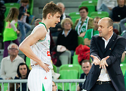 Luka Samanic of Petrol Olimpija and Jure Zdovc, coach of Petrol Olimpija during basketball match between KK Petrol Olimpija and KK Krka in Round #6 of Liga Nova KBM za prvaka 2018/19, on April 5, 2019, in Arena Stozice, Ljubljana, Slovenia. Photo by Vid Ponikvar / Sportida