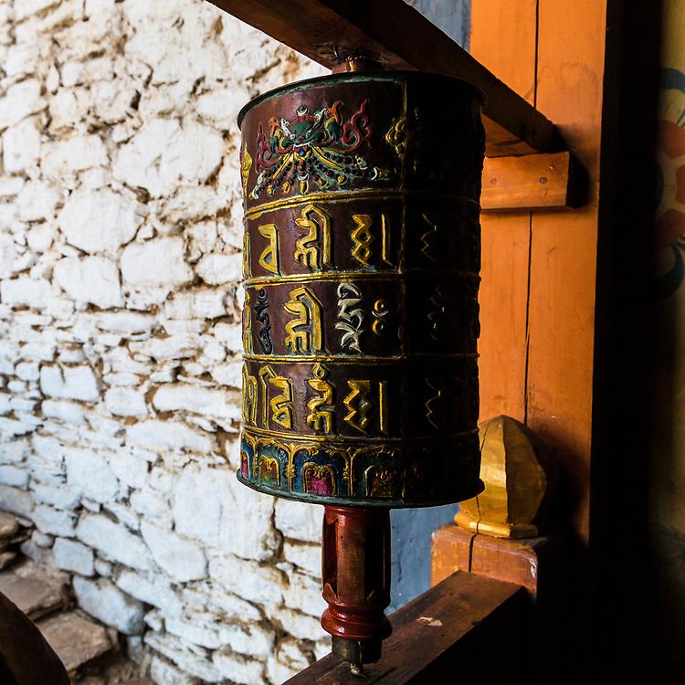Prayer wheel in Bhumtang, Bhutan