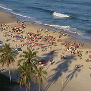 A beach scene on Ipanema beach, Rio de Janeiro,  Brazil. 12th July 2010. Photo Tim Clayton..
