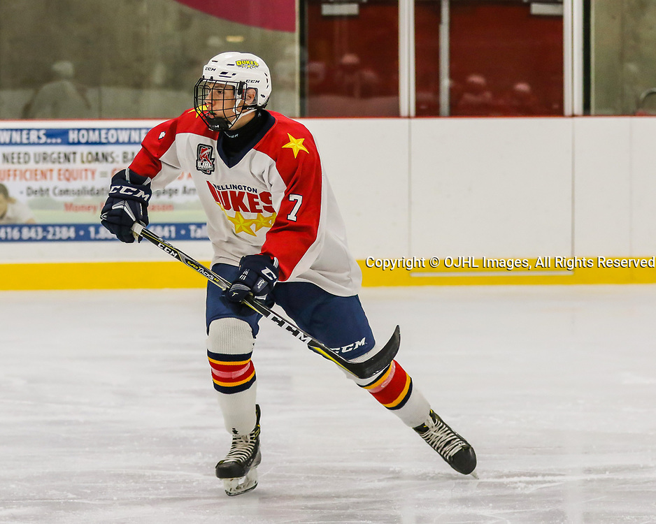 PICKERING, ON  - SEP 21,  2017: Ontario Junior Hockey League game between the Pickering Panthers and the Wellington Dukes, Zack Uens #7 of the Wellington Dukes skates up ice during the second period.<br /> (Photo by Ray MacAloney / OJHL Images)