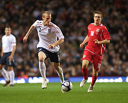 BIRMINGHAM, ENGLAND - Monday, October 13, 2008: England's David Wheater in action against Wales during the UEFA European Under-21 Championship Play-Off 2nd Leg match at Villa Park. (Photo by Gareth Davies/Propaganda)