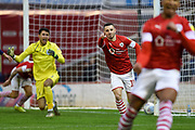 Conor Chaplin of Barnsley FC celebrating his team's first goal during the EFL Sky Bet Championship match between Barnsley and Huddersfield Town at Oakwell, Barnsley, England on 11 January 2020.