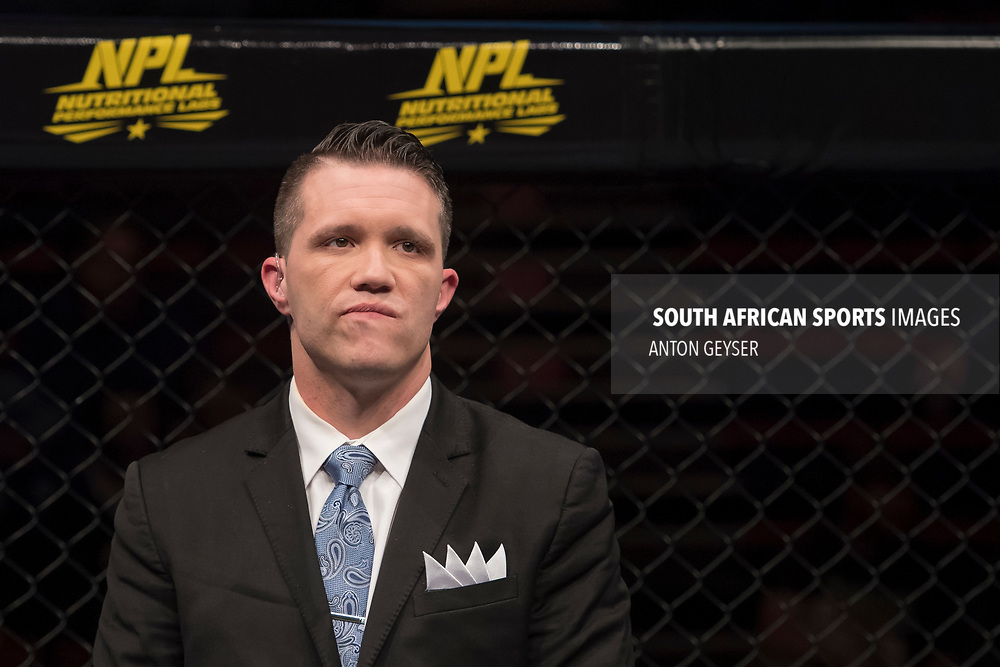 JOHANNESBURG, SOUTH AFRICA - MAY 13: Hexagon announcer Cyrus Fees in action during EFC 59 Fight Night at Carnival City on May 13, 2017 in Johannesburg, South Africa. (Photo by Anton Geyser/EFC Worldwide/Gallo Images)