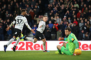 Derby County forward Martyn Waghorn celebrates as he scores Derby's second goal during the EFL Sky Bet Championship match between Derby County and Hull City at the Pride Park, Derby, England on 9 February 2019.