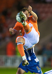 BLACKPOOL, ENGLAND - Wednesday, August 26, 2009: Blackpool's Charlie Adam in action against Wigan Athletic during the League Cup 2nd Round match at Bloomfield Road. (Photo by David Rawcliffe/Propaganda)
