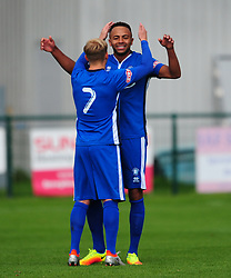 NATHAN FRATER AFC DUNSTABLE CELEBRATES HIS FIRST GOAL,  AFC Dunstable v Marlow FC Evo Stick League South East, Saturday 9th September 2017<br /> Score 2-1:Photo:Mike Capps