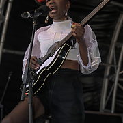 Noisettes performs at the International Busking Day is returning to Wembley Park on 20 July 2019, London, UK.