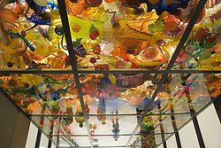 Vibrant color, shape, texture and light are at play in this ceiling of translucent blown glass forms, Seaform Pavillion, glass art by Dale Chihully on Chihuly Glass Bridge, near Museum of Glass, Tacoma, WA, USA   NPR