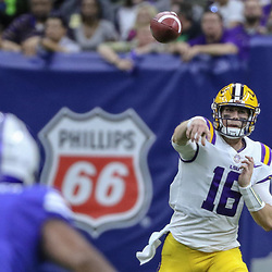 Sep 2, 2017; New Orleans, LA, USA; LSU Tigers quarterback Danny Etling (16) against the Brigham Young Cougars during the first quarter of the AdvoCare Texas Kickoff game at the Mercedes-Benz Superdome. Mandatory Credit: Derick E. Hingle-USA TODAY Sports
