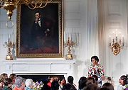 May 7,2010 - Washington, District of Columbia USA - First Lady Michelle Obama hosts a Mother's Day event in the State Dining Room of the White House. Mrs. Obama welcomed Former First Lady Rosalyn Carter and her granddaughter Sarah Carter, Tricia Nixon Cox, and Susan and Anne Eisenhower back to the White House. Guests also included spouses and mothers of troops and young women from Mrs. Obama's mentoring program, who were accompanied by notable women in their lives.. (Credit Image: © Pete Marovich/ZUMA Press)