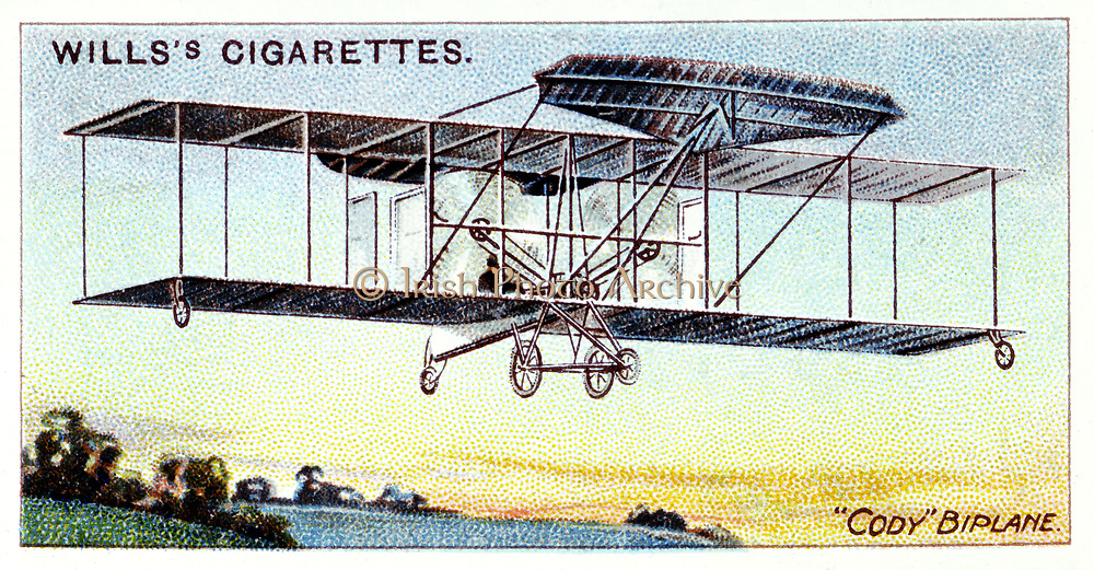 Samuel Franklin Cody (1862-1913) American-born British aviator.  Kite flying instructor to British army. Cody biplane c1909. Chromolithograph card of 1910.