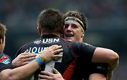Saracens Ernst Joubert  celebrates with Andy Saull after scoring a try during the Guinness Premiership final 2010 between Leicester Tigers and Saracens at Twickenham Stadium, London, England. May 29th, 2010.