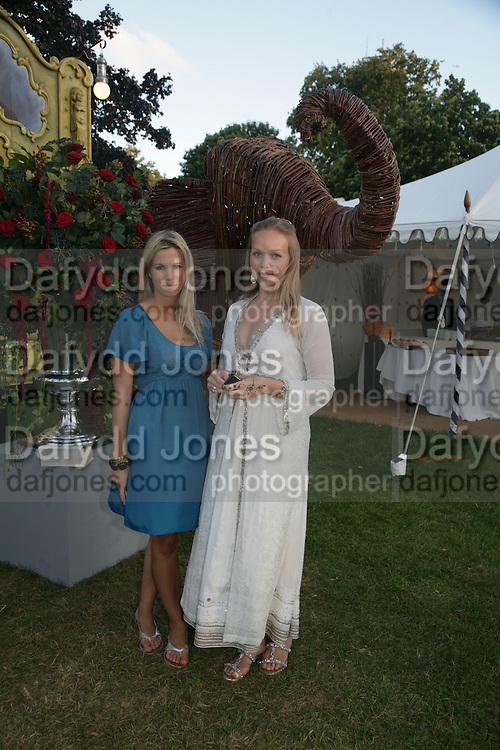 Clementine Brown and Katie Lowry, QUINTESSENTIALLY AND ELEPHANT FAMILY TRUNK SHOW PARTY. SERPENTINE PAVILION, HYDE PARK. 16 SEPTEMBER 2007. -DO NOT ARCHIVE-© Copyright Photograph by Dafydd Jones. 248 Clapham Rd. London SW9 0PZ. Tel 0207 820 0771. www.dafjones.com.