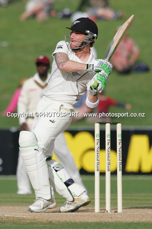 Brendon McCullum plays a shot during the final day. Second Test Match, National Bank Test Series. New Zealand v West Indies. McLean Park, Napier. 23 December 2008,  Photo: John Cowpland/PHOTOSPORT