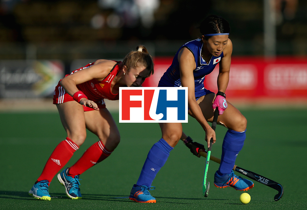 JOHANNESBURG, SOUTH AFRICA - JULY 12: Kana Nomura of Japan and Shona McCallin of England battle for possession during day 3 of the FIH Hockey World League Semi Finals Pool A match between Japan and England at Wits University on July 12, 2017 in Johannesburg, South Africa. (Photo by Jan Kruger/Getty Images for FIH)