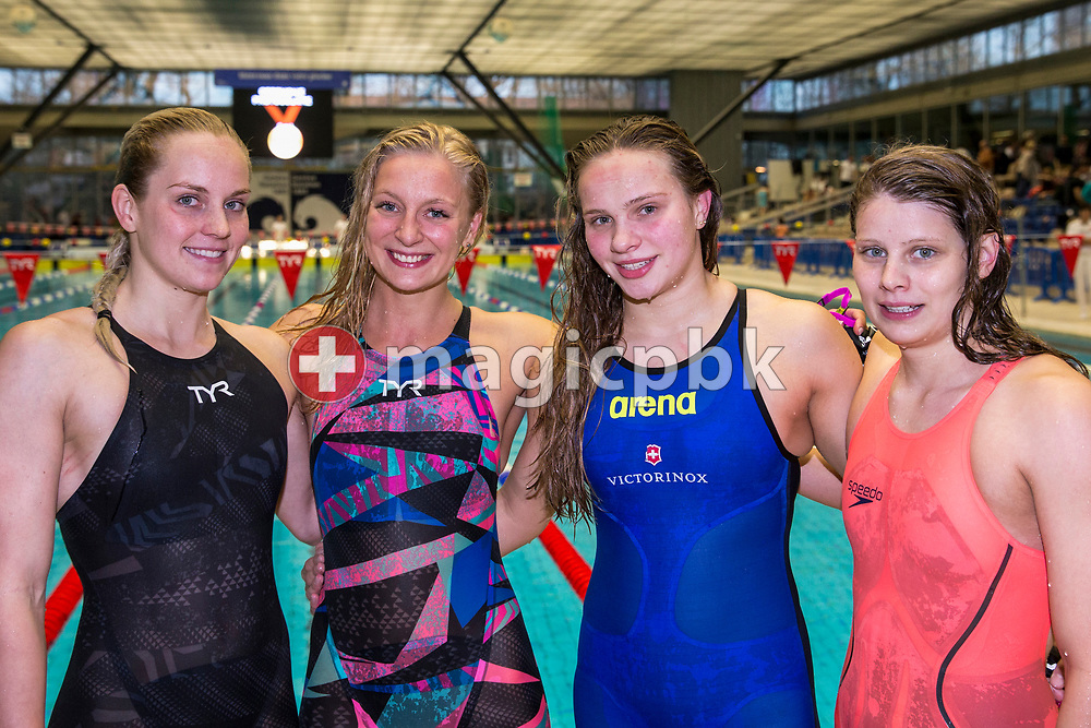 (L-R) SCUW's Sasha Touretski, Maria Ugolkova, Angelique Brugger and Annick van Westdorp of Switzerland pose after winning in the women's 4x100m Freestyle Relay Final during the Swiss Swimming Championships at the Piscine des Vernets in Geneva, Switzerland, Friday, March 24, 2017. (Photo by Patrick B. Kraemer / MAGICPBK)