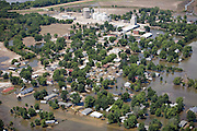 Aerial view of the 2008 Iowa flood along the Mississippi River.