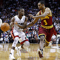 24 January 2012: Cleveland Cavaliers point guard Ramon Sessions (3) defends on Miami Heat point guard Norris Cole (30) during the Miami Heat 92-85 victory over the Cleveland Cavaliers at the AmericanAirlines Arena, Miami, Florida, USA.