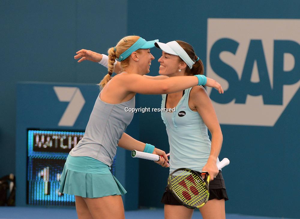 09.01.2014. Brisbane, Queensland, Australia.  L-R, Sabine Lisicki (GER) clebrates with doubles partner Martina Hingis (SUI). Brisbane International 2015