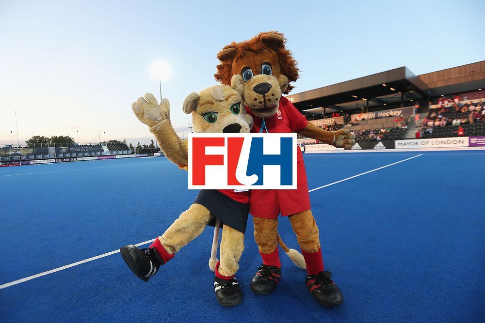 LONDON, ENGLAND - JUNE 16:  Jess and Jasper the GB and England hockey mascots pose during the Pool A match between Argentina and Malaysia on day two of Hero Hockey at Lee Valley Hockey and Tennis Centre on June 16, 2017 in London, England.  (Photo by Alex Morton/Getty Images)