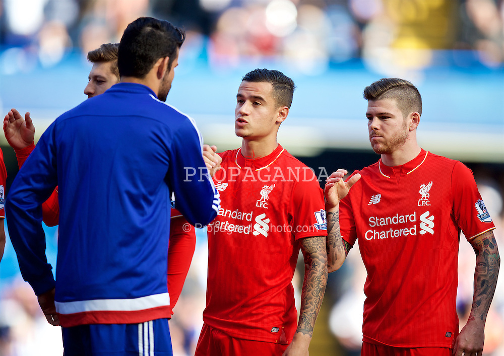 LONDON, ENGLAND - Saturday, October 31, 2015: Liverpool's Philippe Coutinho Correia shakes hands with Chelsea's Diego Costa before the Premier League match at Stamford Bridge. (Pic by David Rawcliffe/Propaganda)