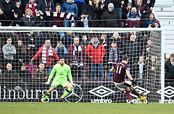 Hearts David Milinkovic scores his side's fourth goal of the game from the penalty spot during the Ladbrokes Scottish Premiership match at Tynecastle Stadium, Edinburgh.