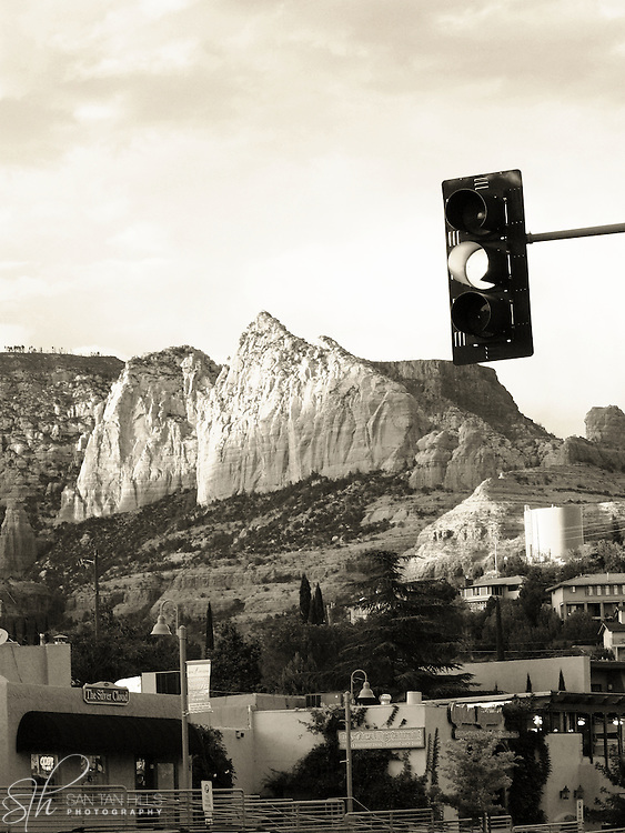 Monochrome image of downtown Sedona