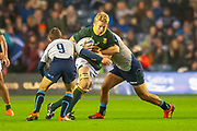 Pieter-Steph du Toit (#7) (DHL Western Province) of South Africa about to be tackled by Greig Laidlaw (#9) (Clermont Auvergne) of Scotland during the Autumn Test match between Scotland and South Africa at the BT Murrayfield Stadium, Edinburgh, Scotland on 17 November 2018.